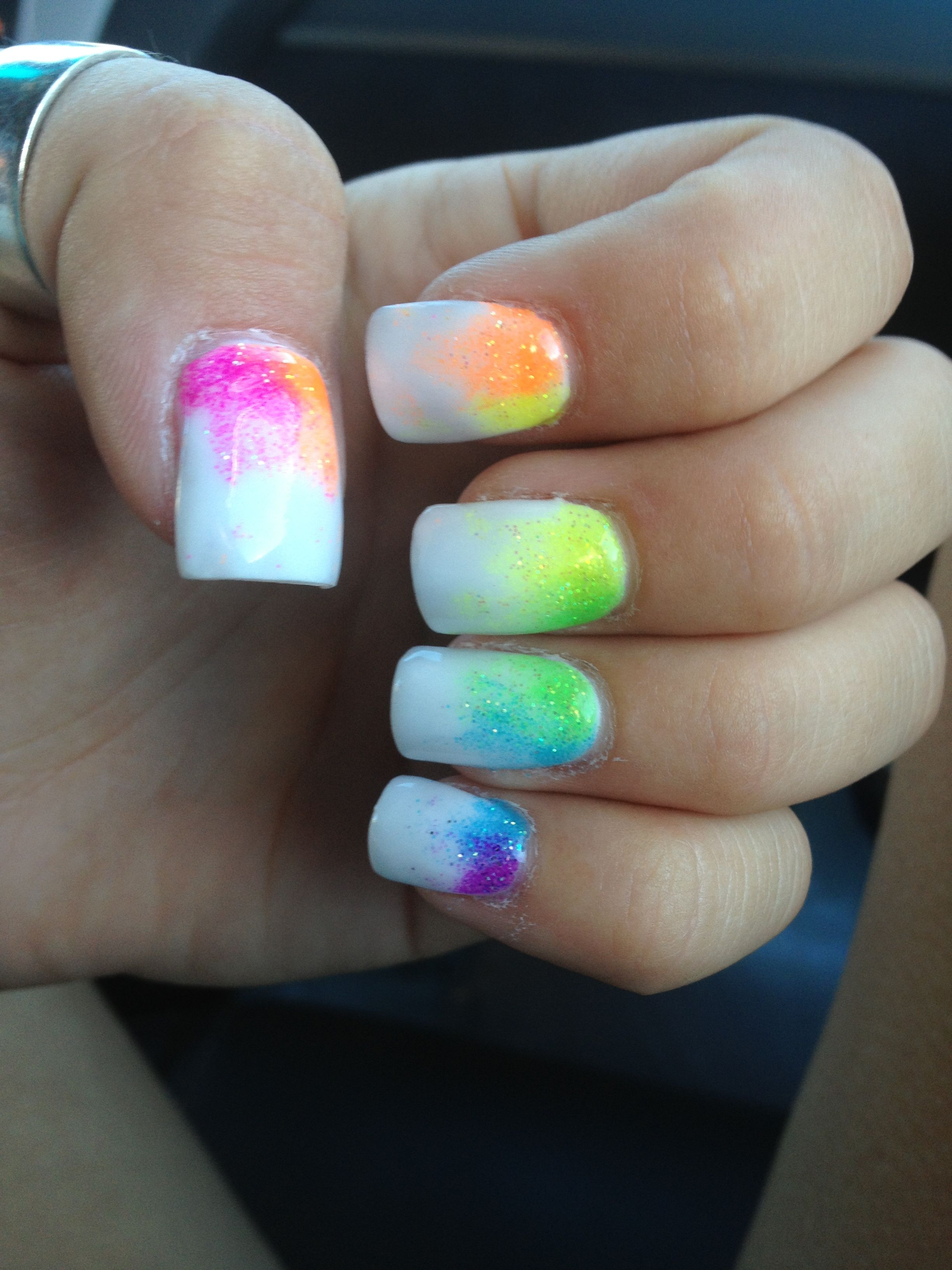 White color nail art - White And Neon Rainbow Fade Nails Summer Fun Bright Colors Nails Nails Nails