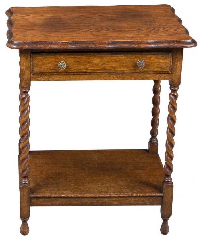 Antique Side Table With Drawer In Oak On Barley Twist Legs. Perfect Lamp  Table!