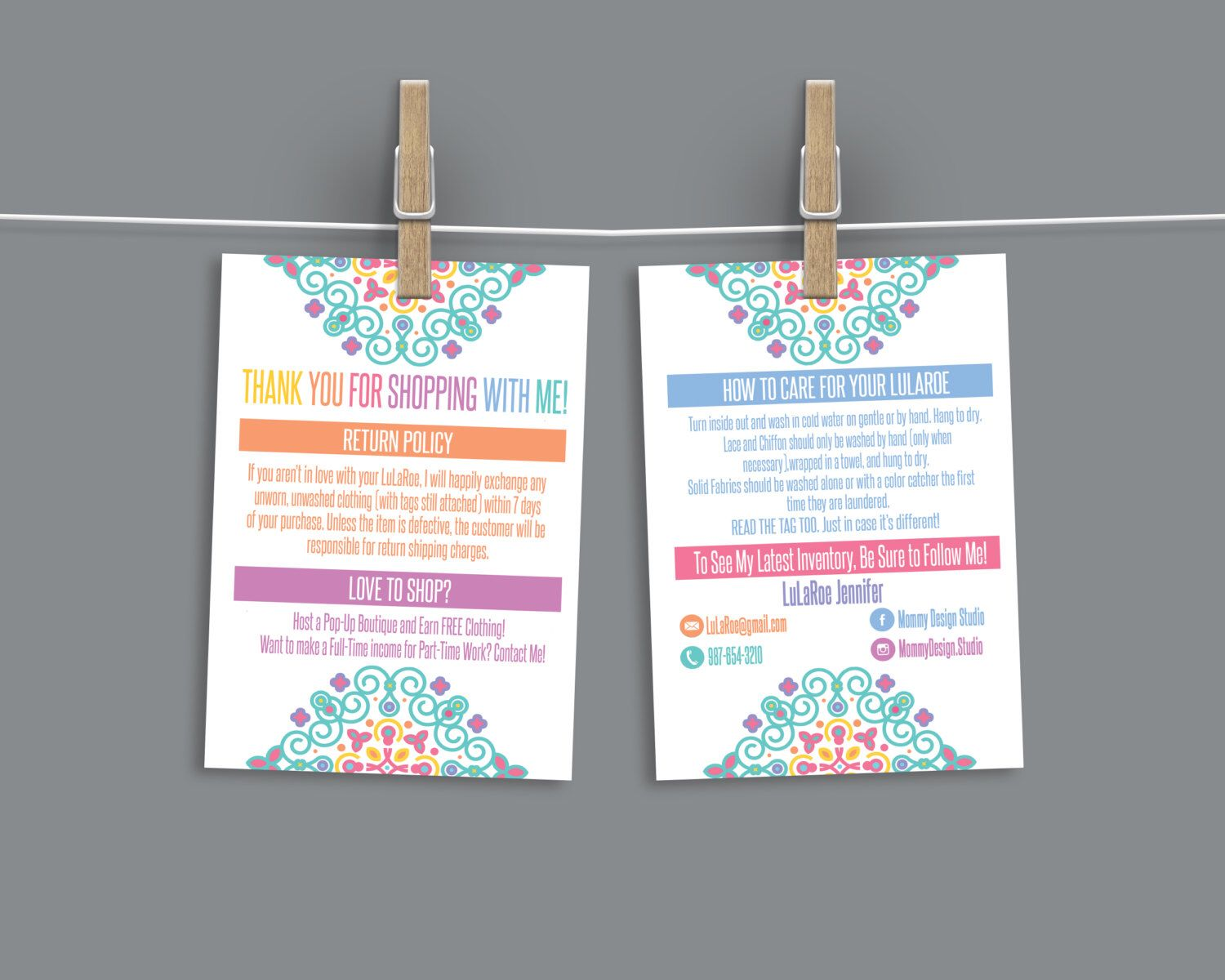home office guide. BOHO Mandala Thank You/Care Cards   How To Care - Home Office Approved Branding Guide Fonts/Colors Fashion Retailer Return/Exchange PDF