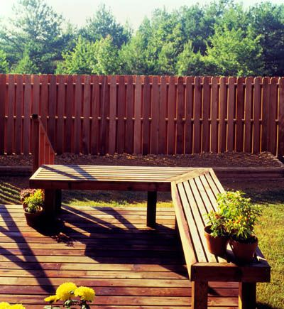 Redwood Deck Bench And Fence So Many Uses Backyard Remodel Easy Backyard Backyard Landscaping Designs