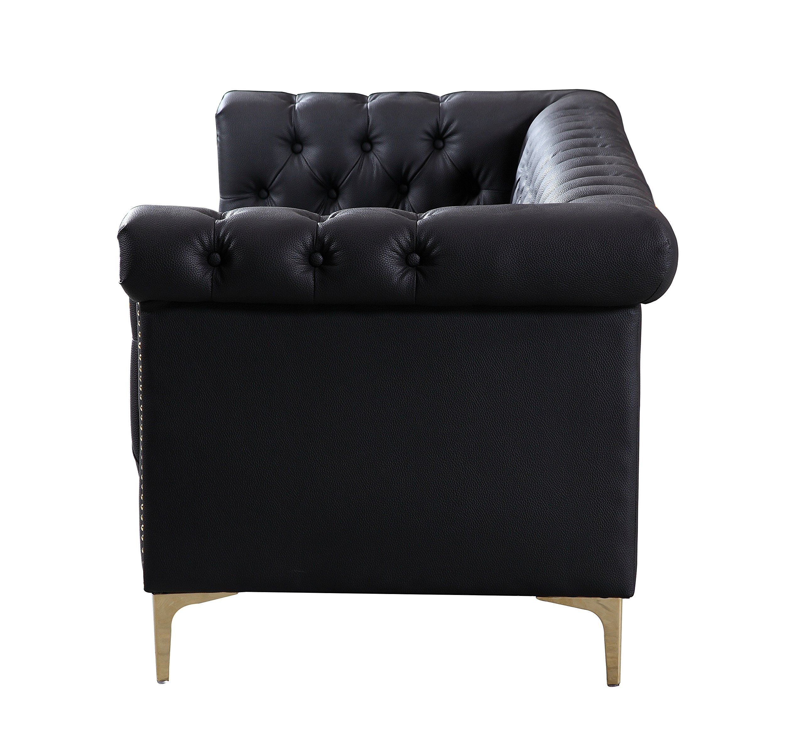 Iconic home winston modern tufted gold nail head trim black pu leather sofa with gold tone metal ylegs learn more by visiting the image link affiliate