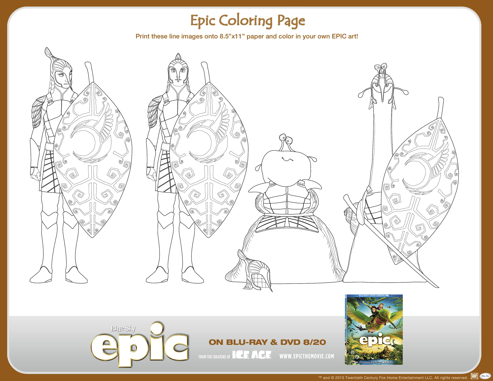 Print Out This Page And Color In Some Of The Leafmen From Epic Cartoon Movies Fox Movies Coloring Pages
