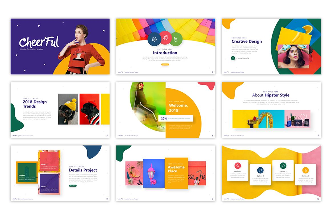 Cheerful Attractive Powerpoint Template 75495