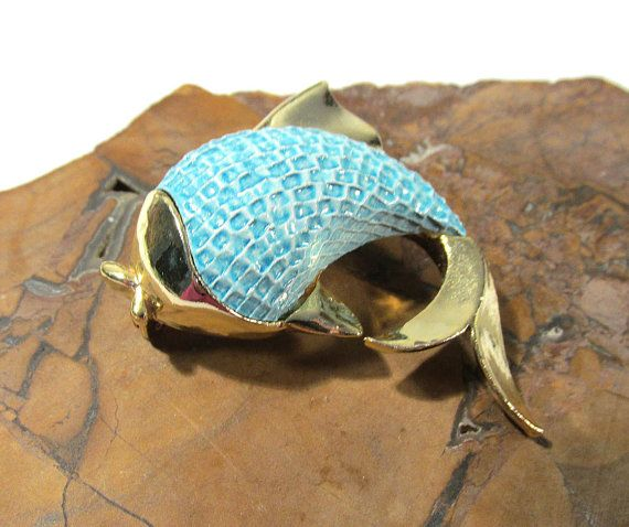 Gerry's FISH Brooch VINTAGE Porcelain Ceramic Fish Pin by punksrus