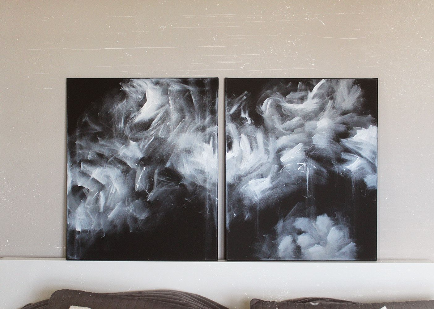 2 Piece 24x40 Total Black And White Abstract Original Canvas Painting Over Bed Paint Original Canvas Painting Large Abstract Wall Art Black And White Abstract