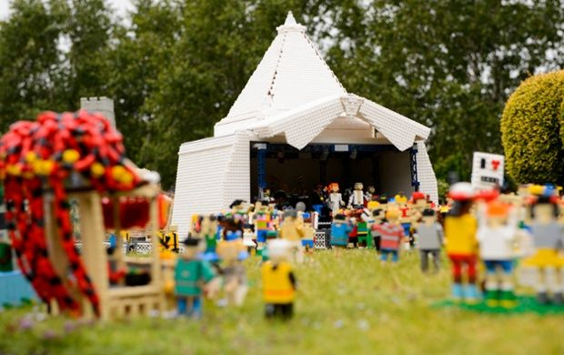The Lego Pyramid Stage in the new Glastonbury festival scene at Legoland Windsor & The Lego Pyramid Stage in the new Glastonbury festival scene at ...