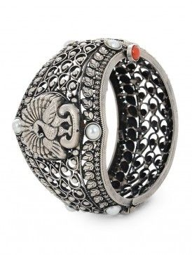 a104f9fd32 Peacock Hinged Opening Silver Bangle (Size - 2/6) | Unique Jewellery ...