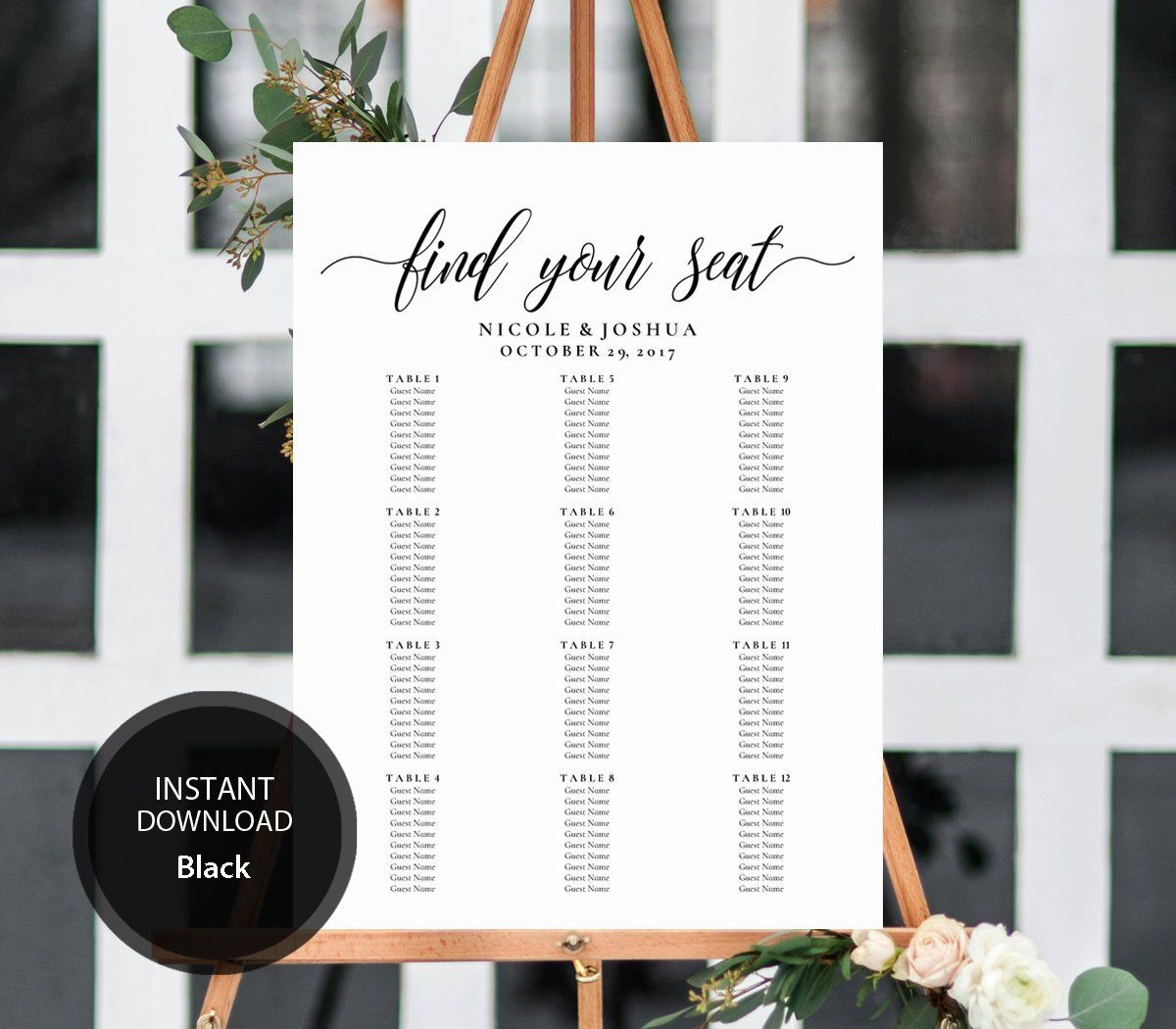 Editable PDF Seating Chart Find Your Seat Calligraphic