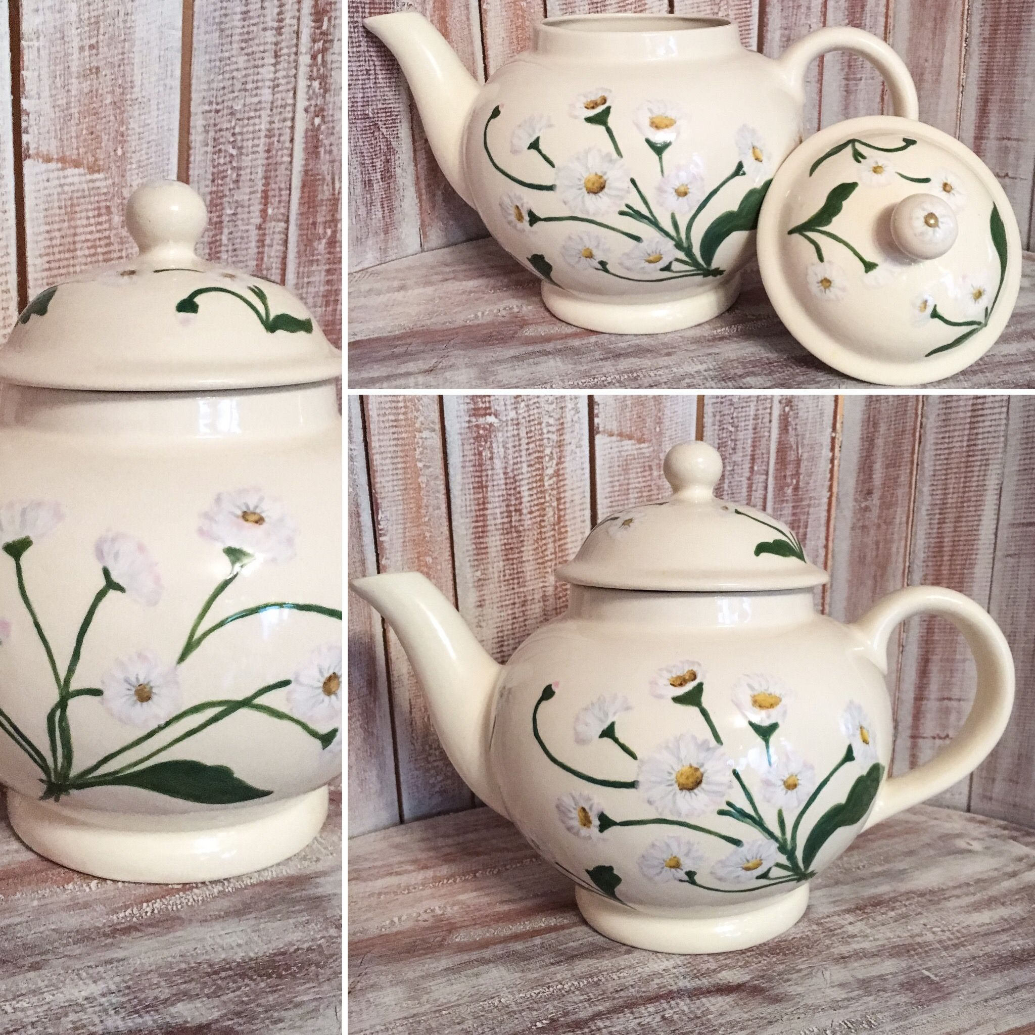 love to paint on ceramic articles like this teapot with daisies you can do this as well in the. Black Bedroom Furniture Sets. Home Design Ideas