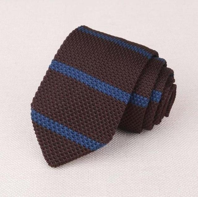 0f01d4425afb RBOCOTT Striped & Plain Knitted Tie 7 cm Men's Slim Ties Fashion Casual  Skinny Knit Tie Blue Necktie Brown For Business Wedding