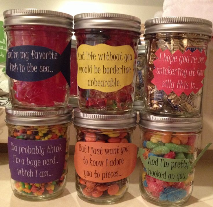 Birthday message for boyfriend! Mason jars filled with different ...