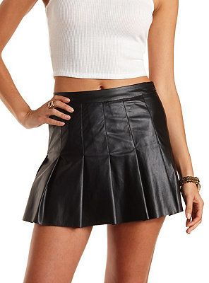 f816bb547e00 Black Pleated Leather Mini Skirt: Charlotte Russe Pleated Faux Leather  Skater Skirt - Just right