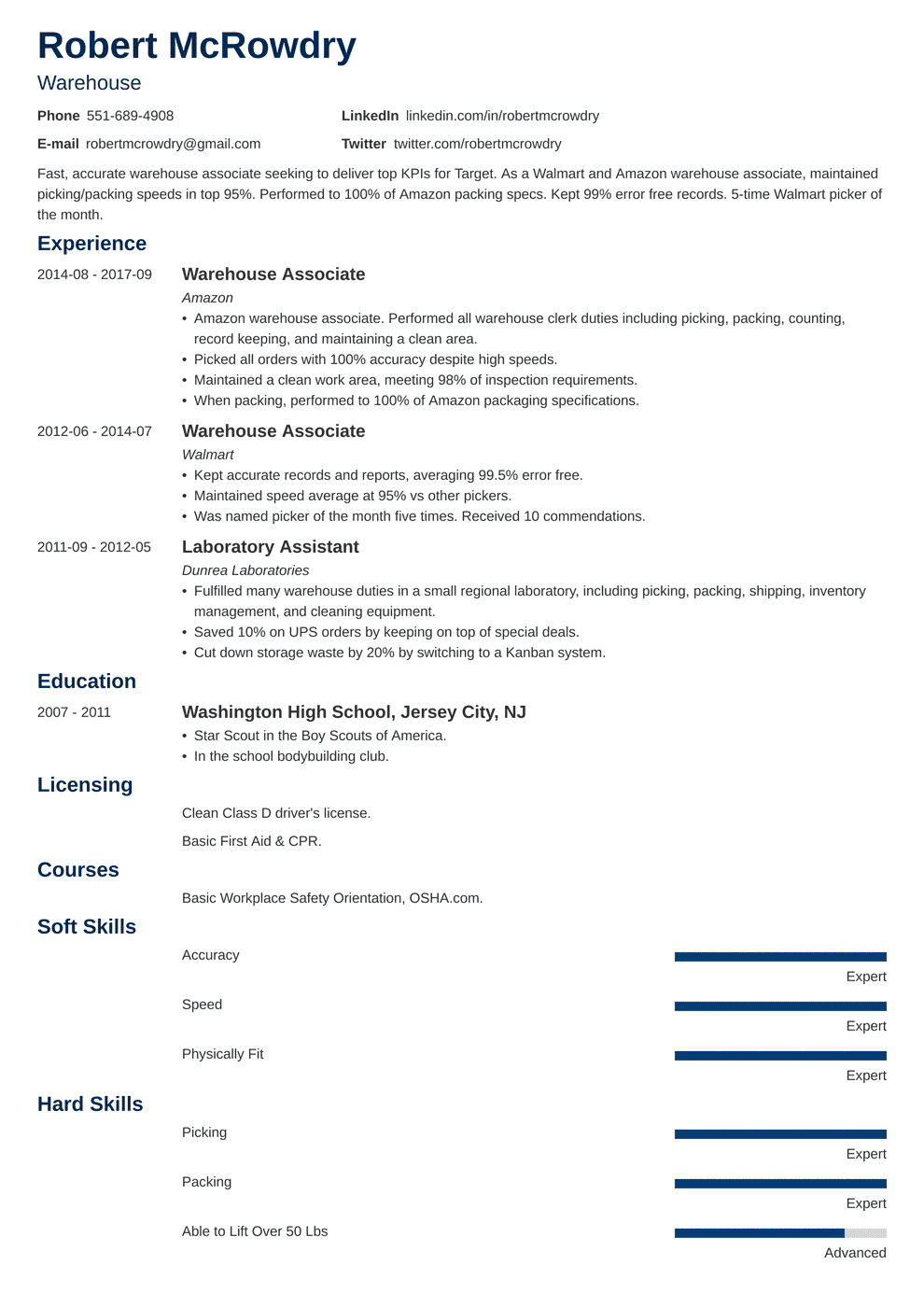 Warehouse Worker / Associate Resume Sample & Guide