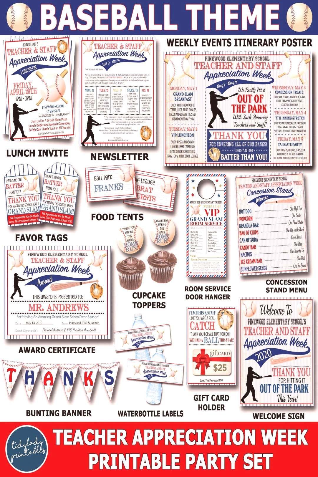 Appreciation Printable Baseball Teacher Themed Party
