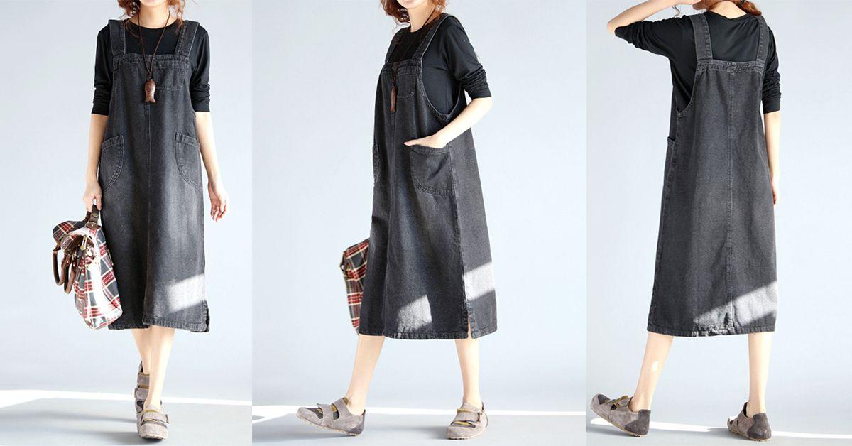 f79962d3e4c5 O-NEWE Casual Sleeveless Pockets Strap Denim Dress For Women - NewChic  Mobile