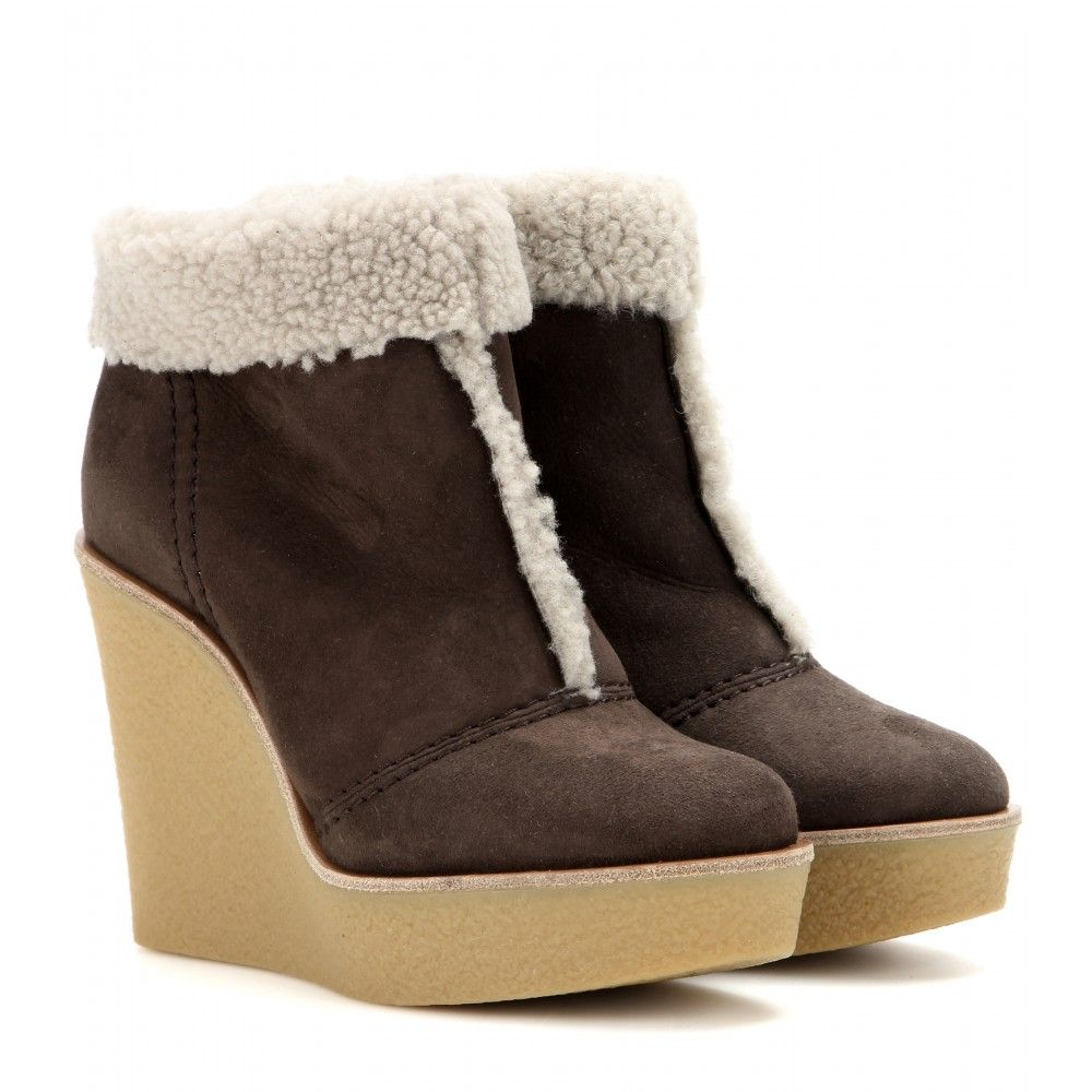 discount big discount get to buy sale online Chloé Shearling Wedge Ankle Boots 100% authentic for sale wholesale price sale online iyDJu