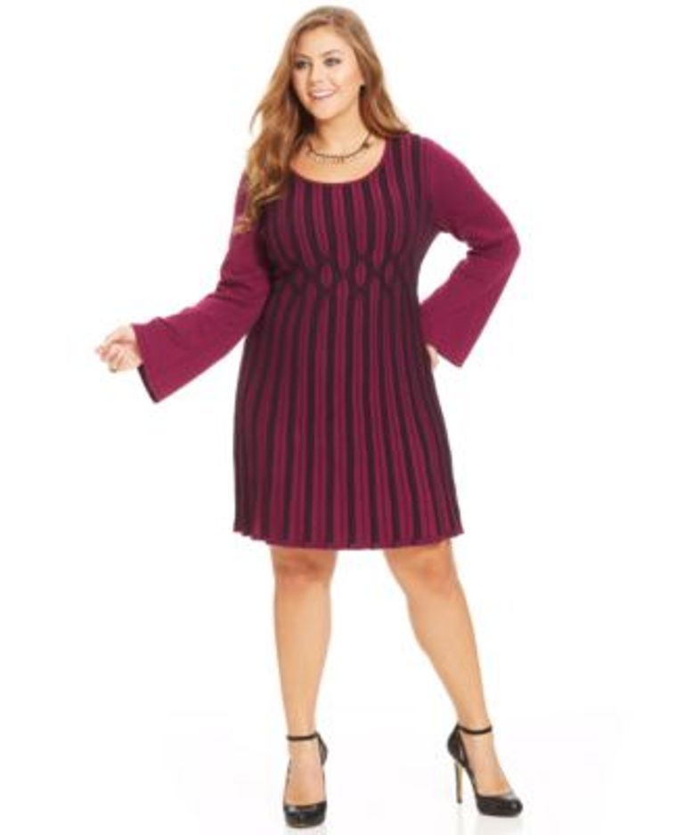 Style Co. Plus Size Ribbed-Knit Sweater Dress Passion Flower Black 2X #Styleco