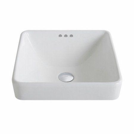 Kraus Elavo Series Square Ceramic Semi Recessed Bathroom Sink In White With Overflow Bathroom