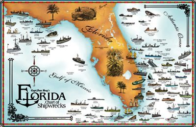 Florida Shipwrecks Map map of shipwrecks   Google Search | Artist art projects in 2019