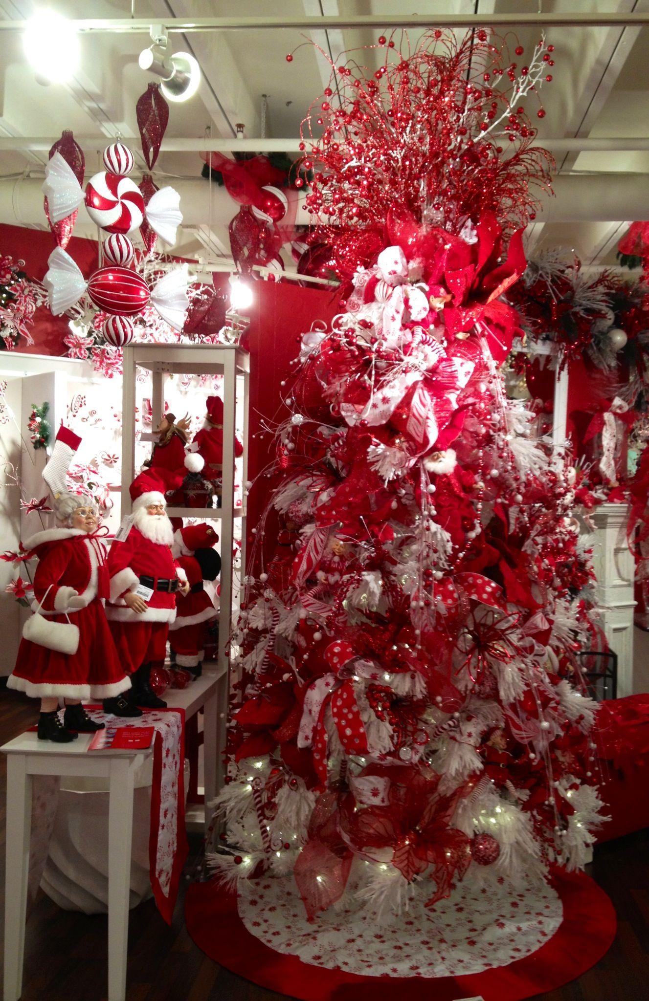 Arcadia Floral And Home Decor Santa Red And White Christmas Tree Christmas Tree