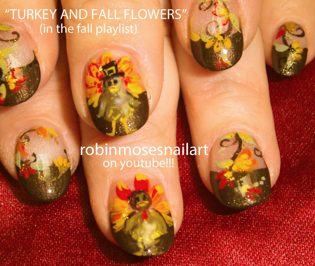 Soft Flower Nail Art Lavender Teal Thanksgiving Nail Art Turkey with ...