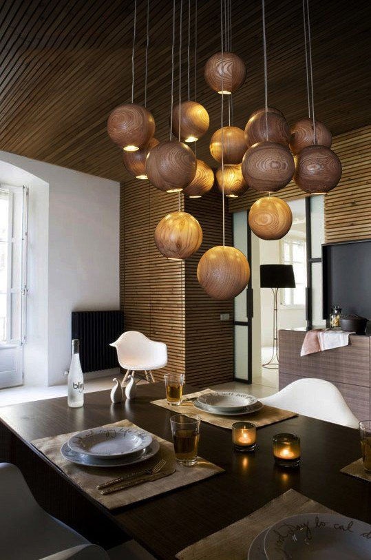 Wooden Orb Sphere Cluster Chandelier With Led Bulbs Contemporary