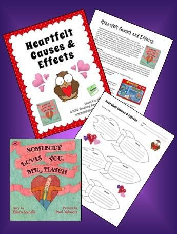 Heartfelt Causes and Effects is a free lesson developed by Laura Candler to be used with the popular children's book, Somebody Loves You Mr. Hatch. Read about it in this Corkboard Connections blog post.