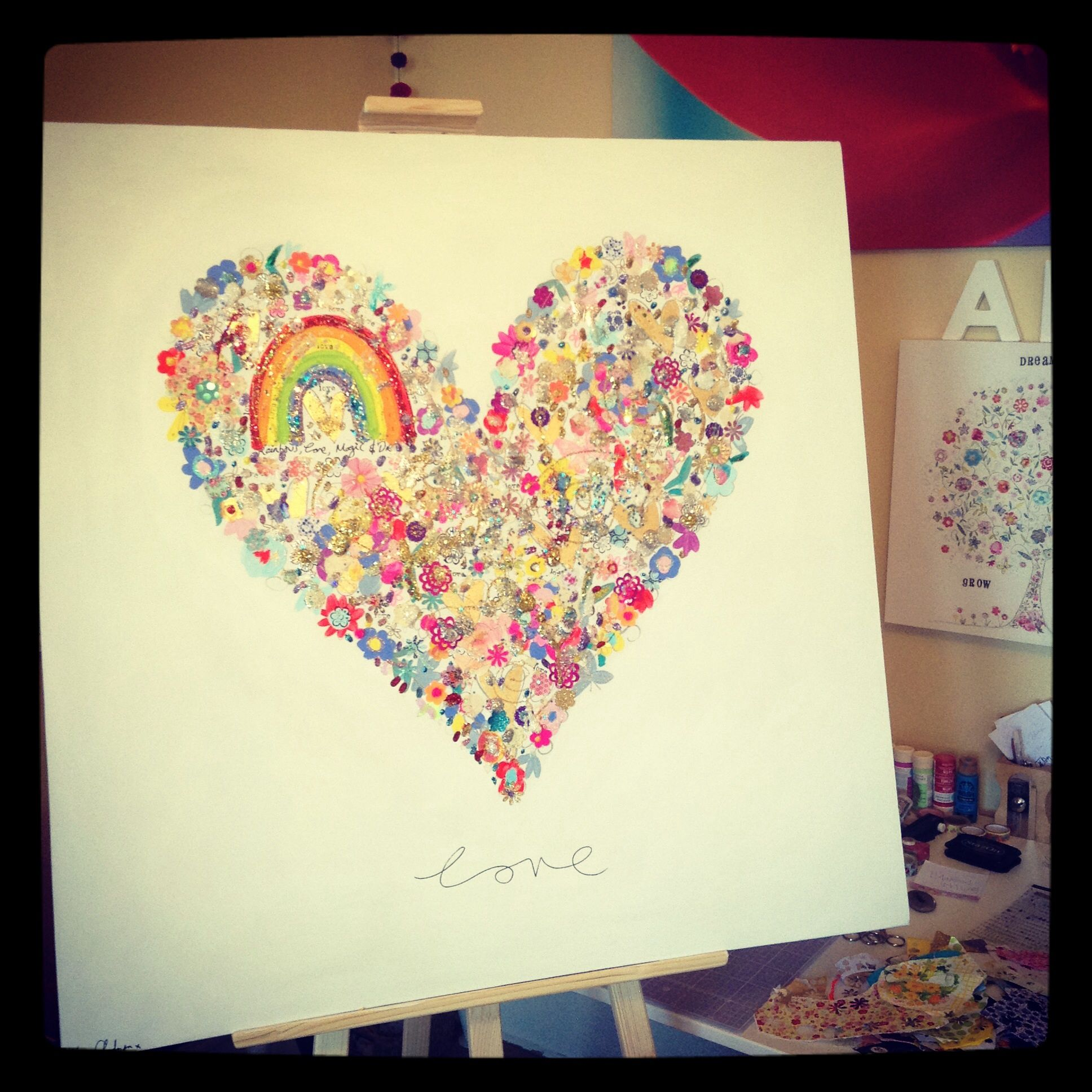 Rainbow love on canvas by @Kim Anderson | Oopsy Hearts Art ...