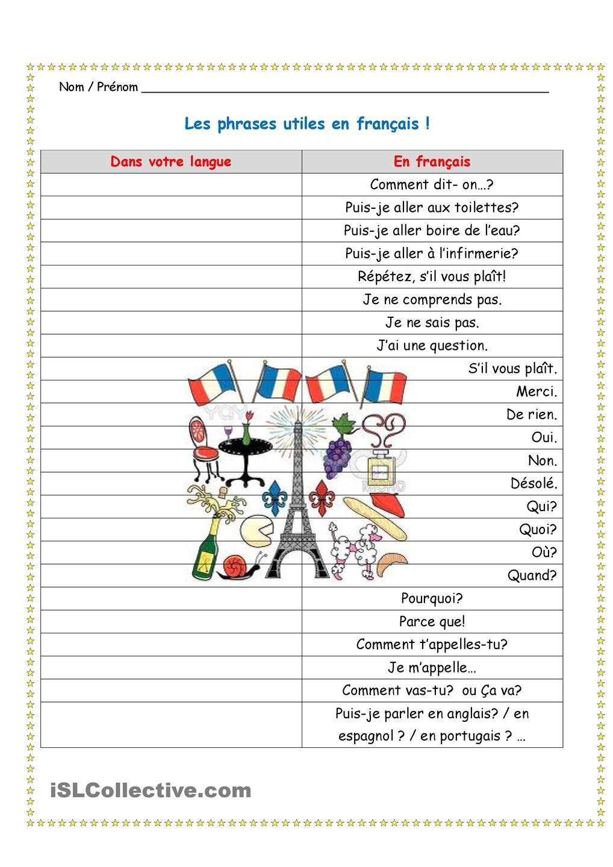 Phrases Utiles En Francais Fiches Pedagogiques Expressions Idiomatiques France