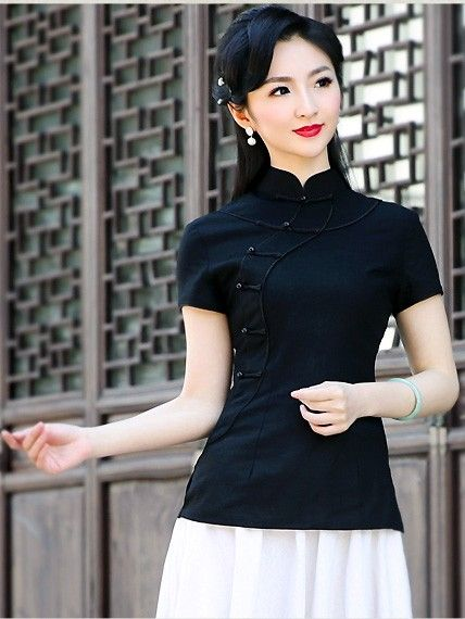 48dac1570b Linen Mandarin Collar Qipao   Cheongsam Top
