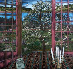 Jesper Christiansen (Danemark, b. 1955), Paradismaleri # XVII (Dans notre premier monde), [Paradise Peinture #XVII (Dans notre premier monde)], 2014-16.  Acrylique, latex et de blanchiment sur toile de lin, 126 x 135 cm.