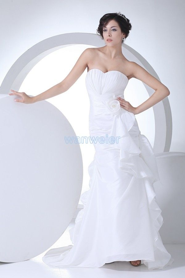 Sublime Sheath Sweetheart Train Chiffon white Party Dress with Shirring(ZJ5622)