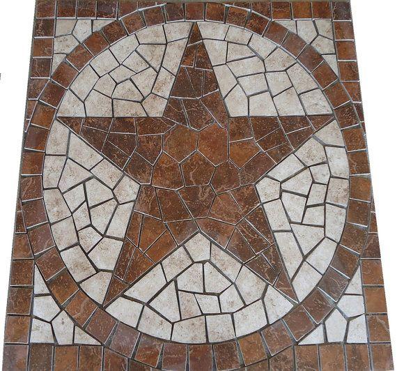 Square Santa Cruz Texas Star Mosaic Porcelain Tile Medallion Backsplash Wall Kitchen Or Flooring Design Deco Inlay Art Free Texas Star Mosaic Medallion Mosaic