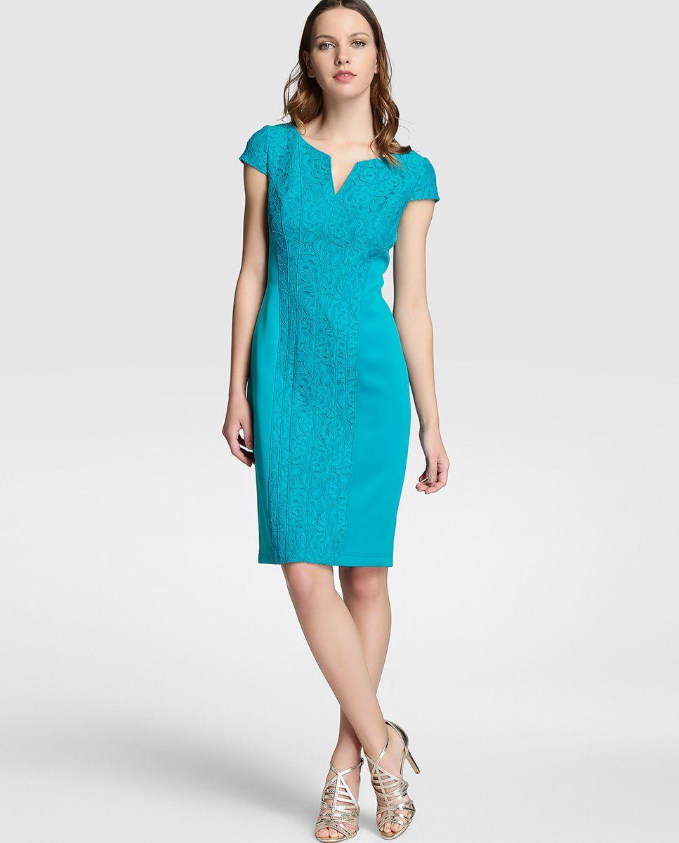 Mujer Azul Central De Encaje En Con Vestido Adrianna Papell by6gf7