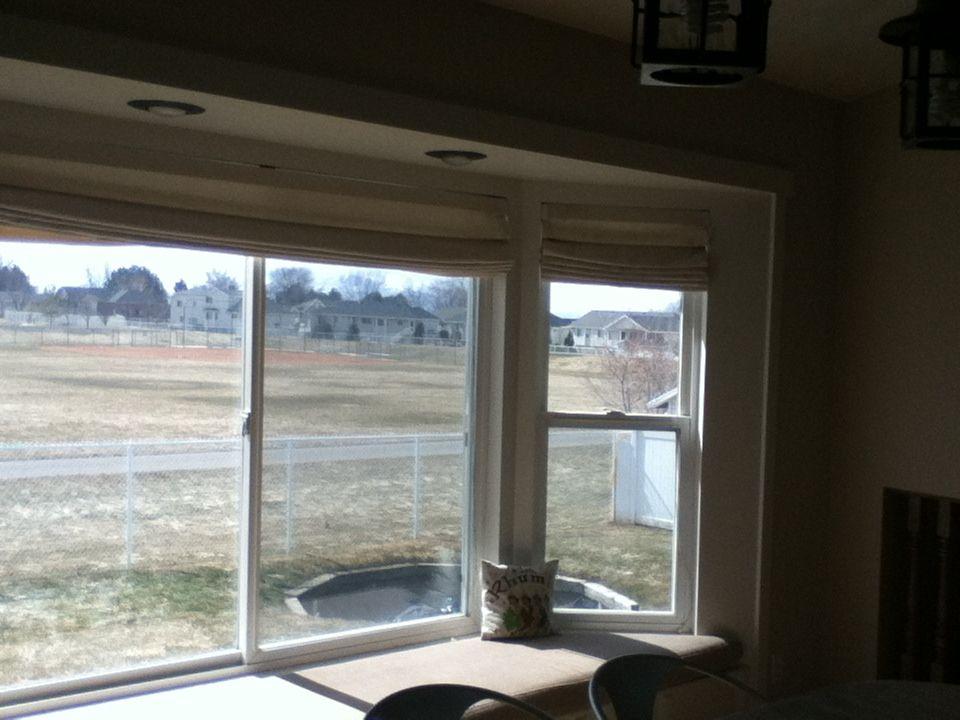 Board and batten trim in the bay window