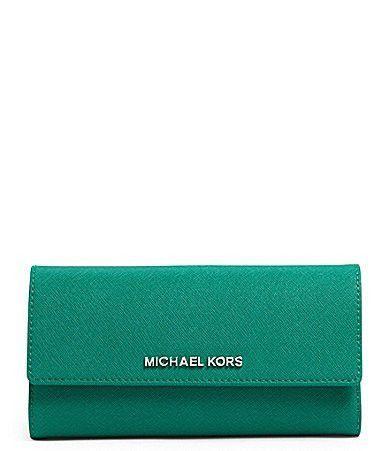 318d6c90fa3e MICHAEL Michael Kors Checkbook Wallet in Aqua Green Leather ...
