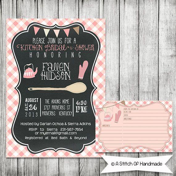 chalkboard kitchen bridal shower invitation and recipe card