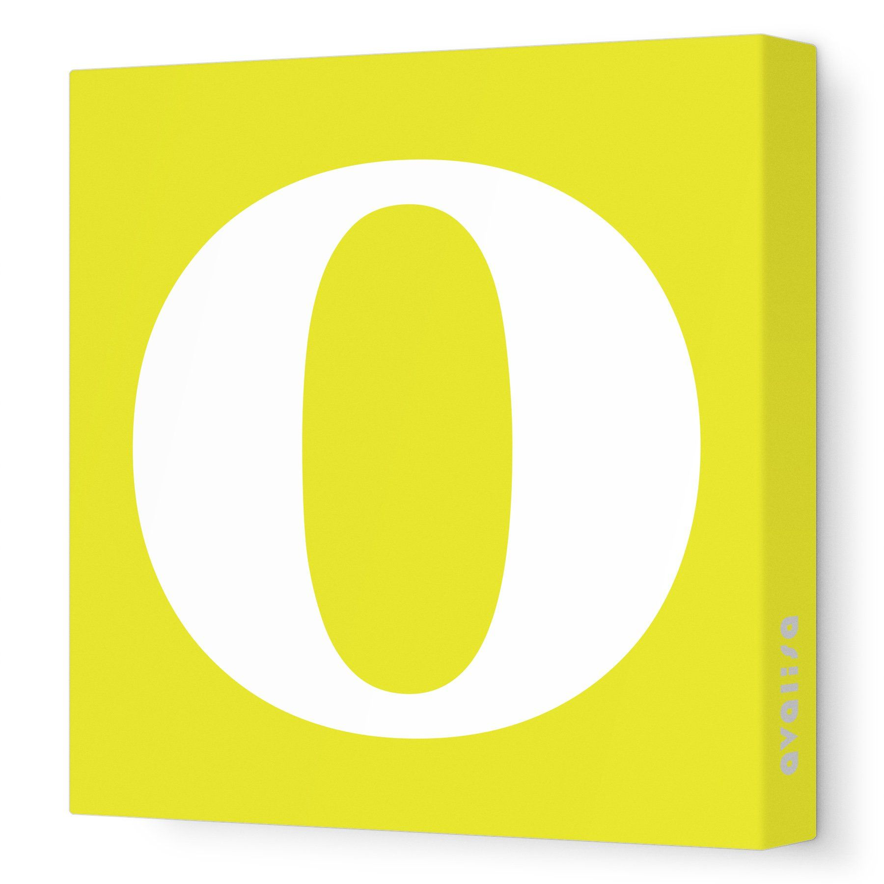 Avalisa Stretched Canvas Lower Letter O Nursery Wall Art, Yellow, 36 ...