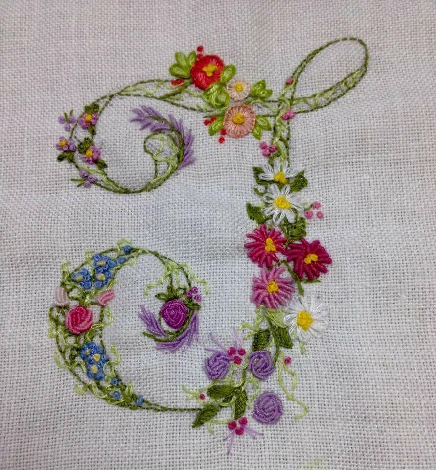 Embroidered floral monogram