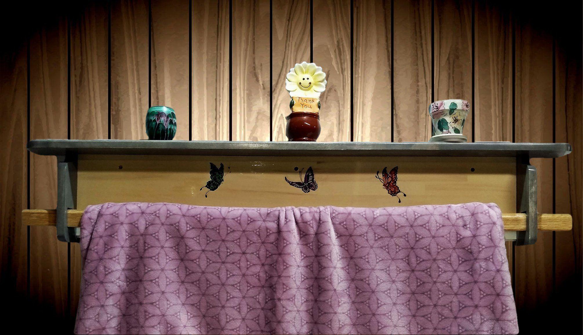 Butterfly handmade wood quilt rack shelf wall mount home