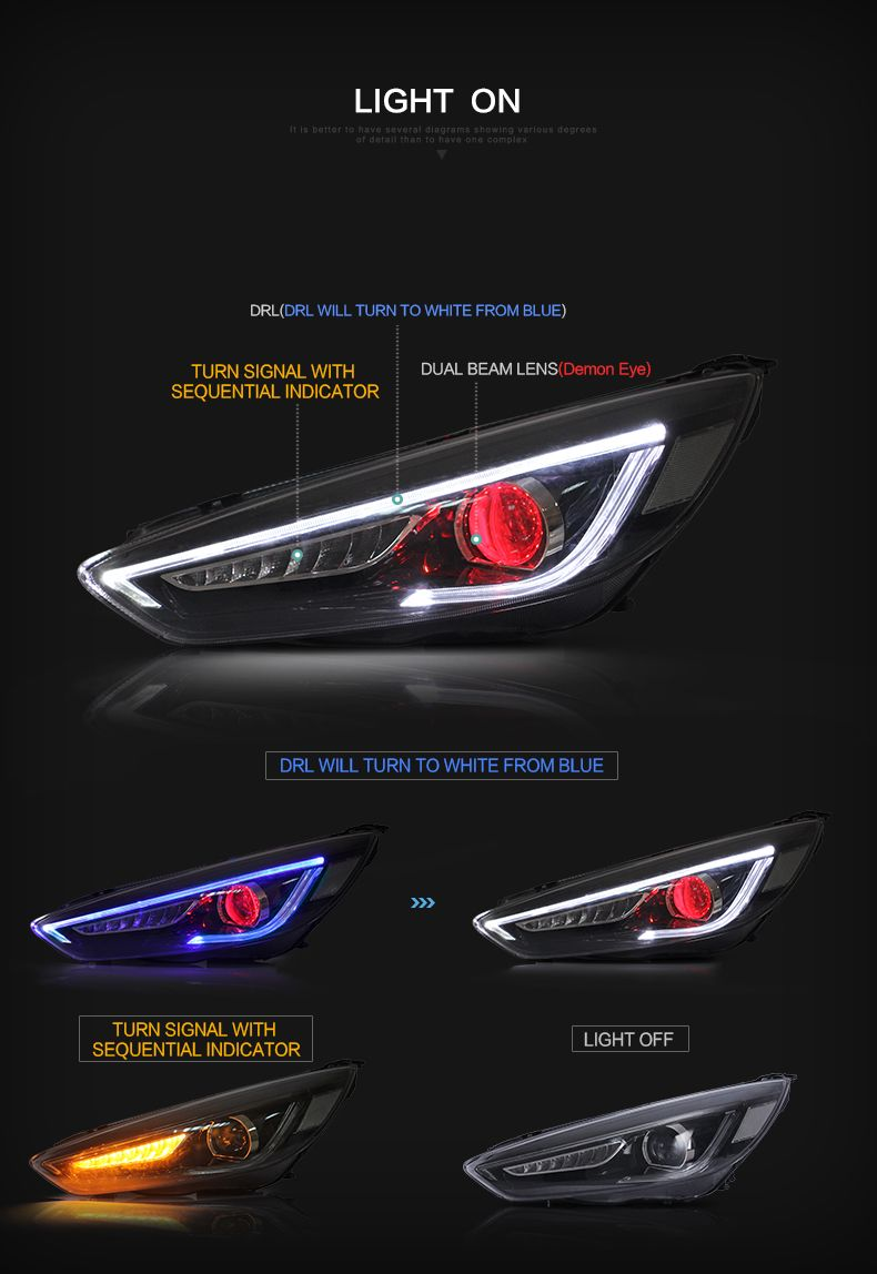 Vland Head Lamp Fit For Focus 2015 2017 Led Front Lamp Car
