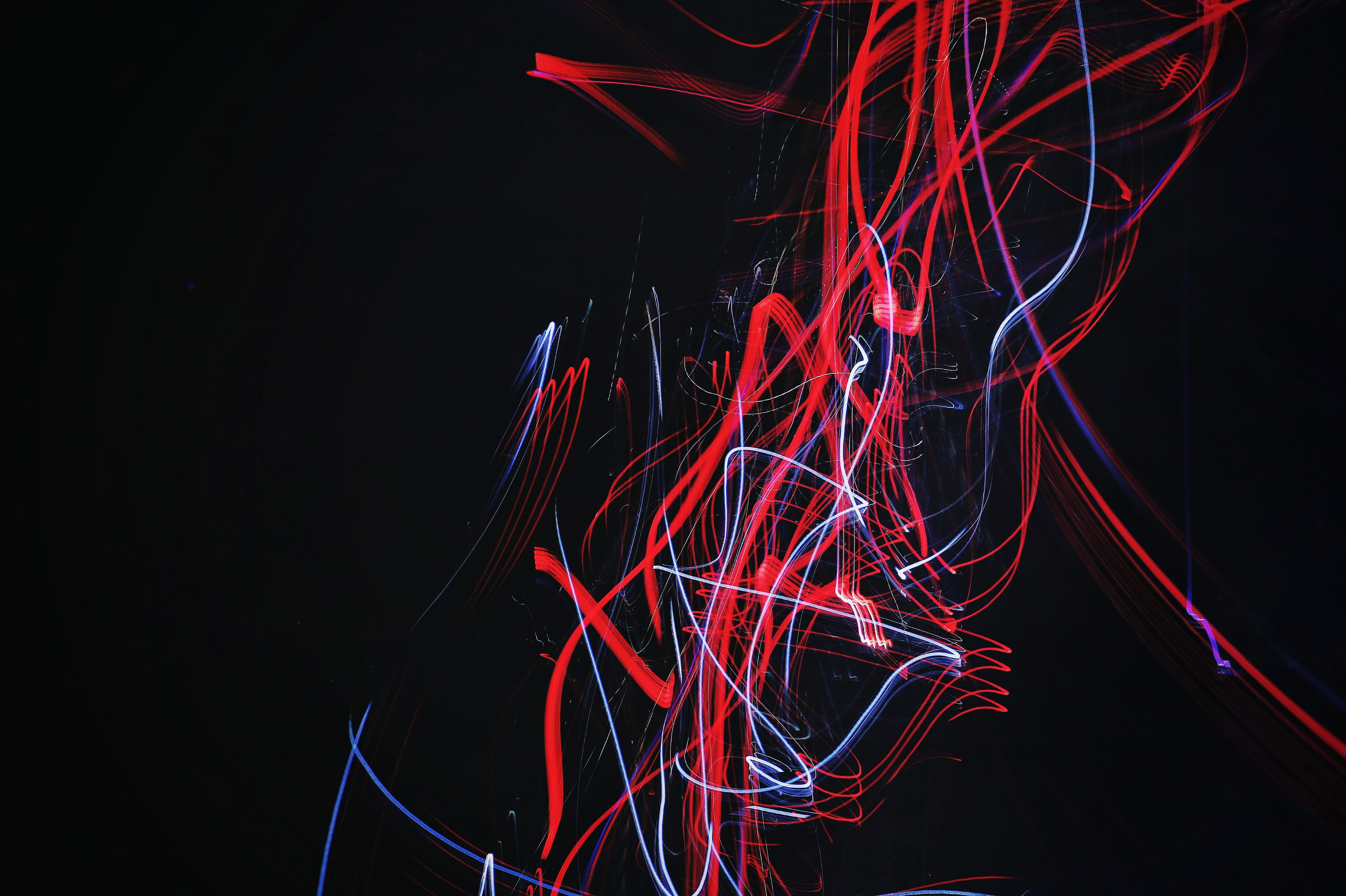 Red And Blue Doodle Artwork With Black Background Red And White Light Strokes Light Black Neon Light Trail Red Pattern Neon Wallpaper Neon Light Trails