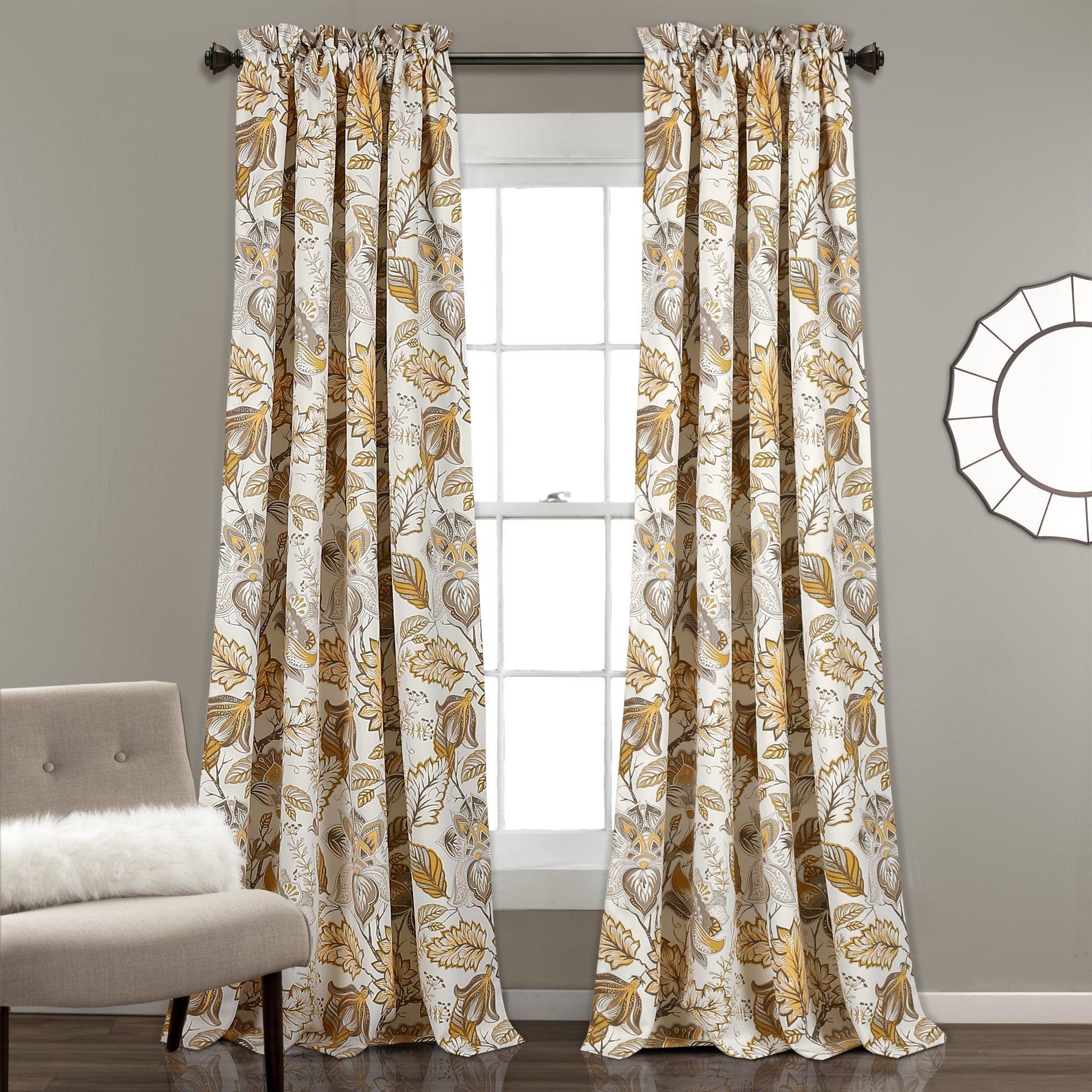 Lush Decor Cynthia Jacobean Room-darkening Curtain Panel Pair (White ...