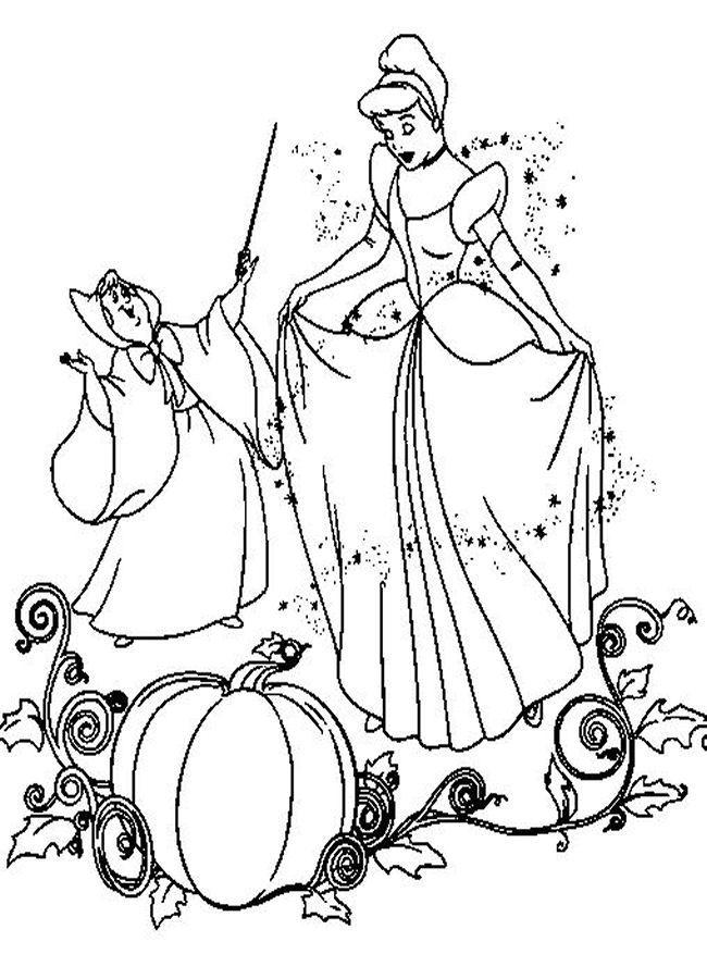coloring pages fairies | Cinderella Coloring Pages Fantasy Princess ...