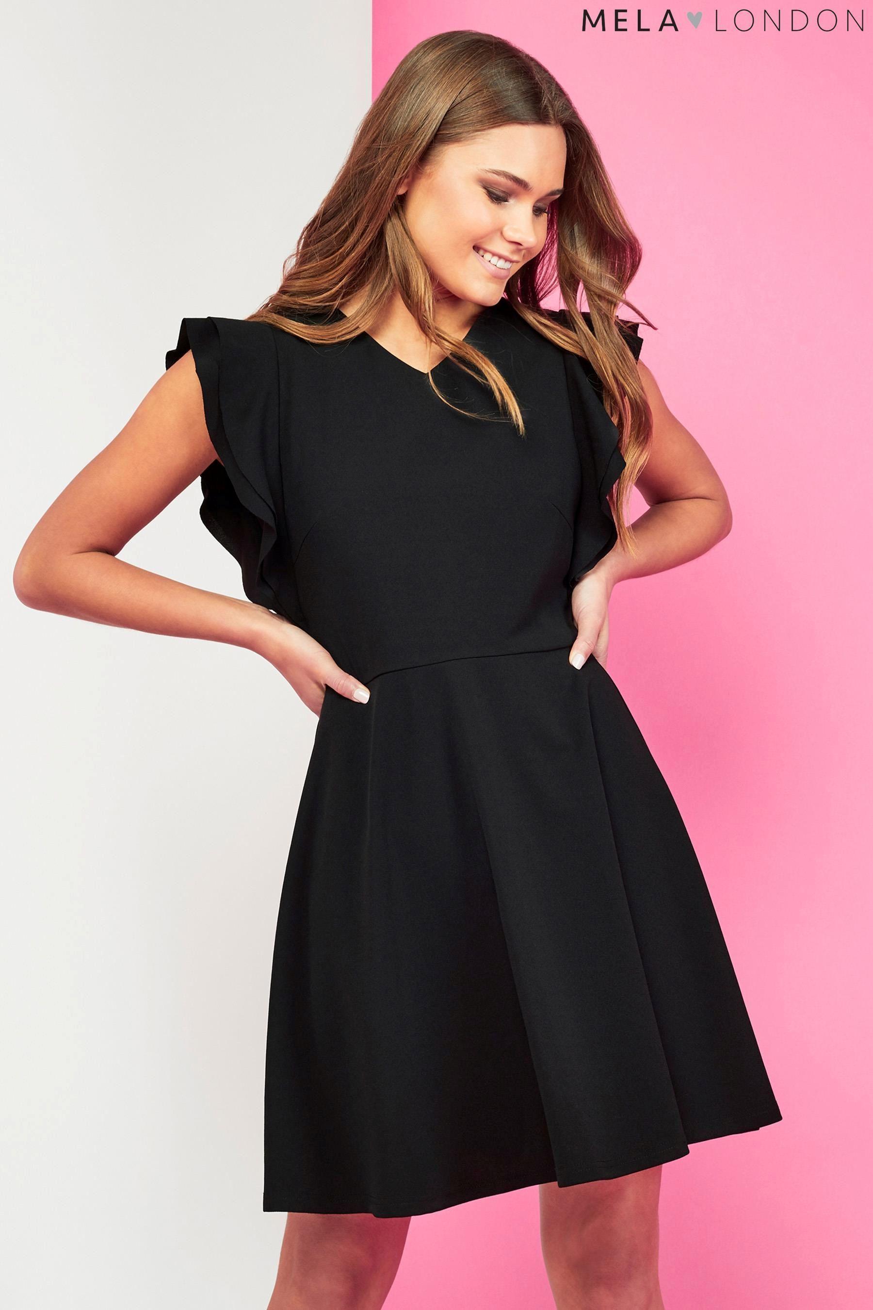 Womens Side Ruffle V Neck Dress Mela 7zQ4ul