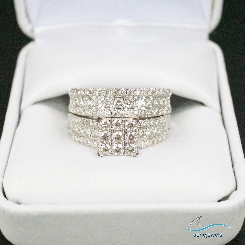 Engagement /& Wedding Floral Cluster Ring 14K White Gold 2.20 Ct Round Diamond