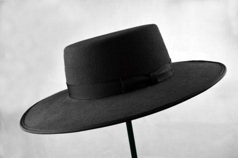 11b7e79c72e5d0 Bolero Hat | The GAUCHO | Black Fur Felt Flat Crown Wide Brim Hat ...