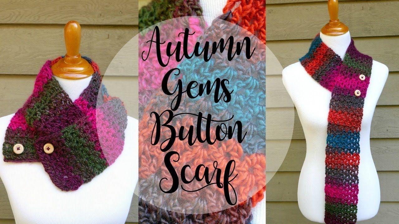 How To Crochet the Autumn Gems Button Scarf, Episode 348 | CROCHET ...