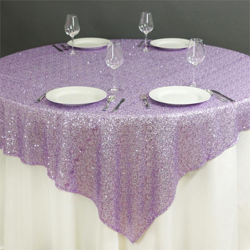 72x72 Sequin Lavender Light Purple Glitz Tablecloth Overlay Ready