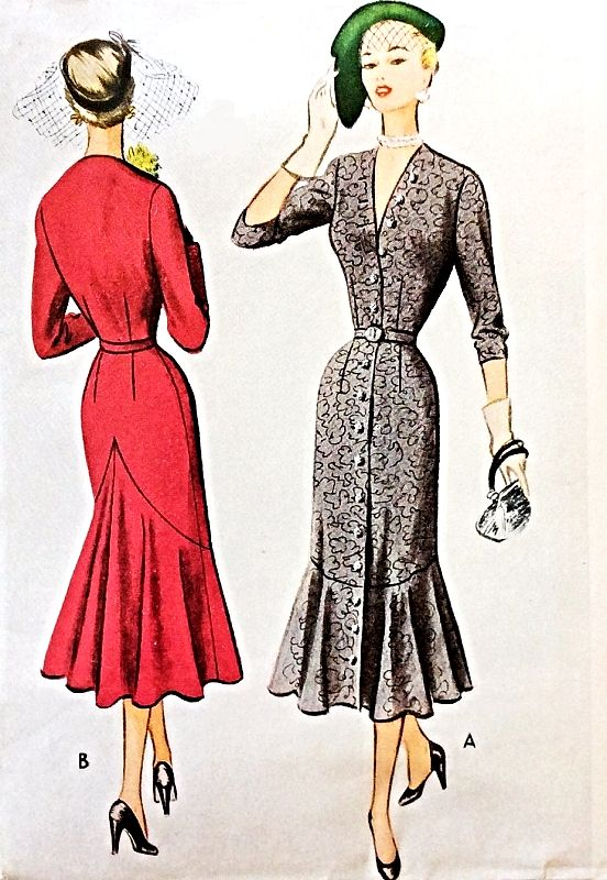 92409c89b1c3 1950s AMAZING Dress Pattern McCALL 8289 Day or Cocktail Party V Neckline  Slim Dress Mermaid Flounce Silhouette Bust 30 Vintage Sewing Pattern
